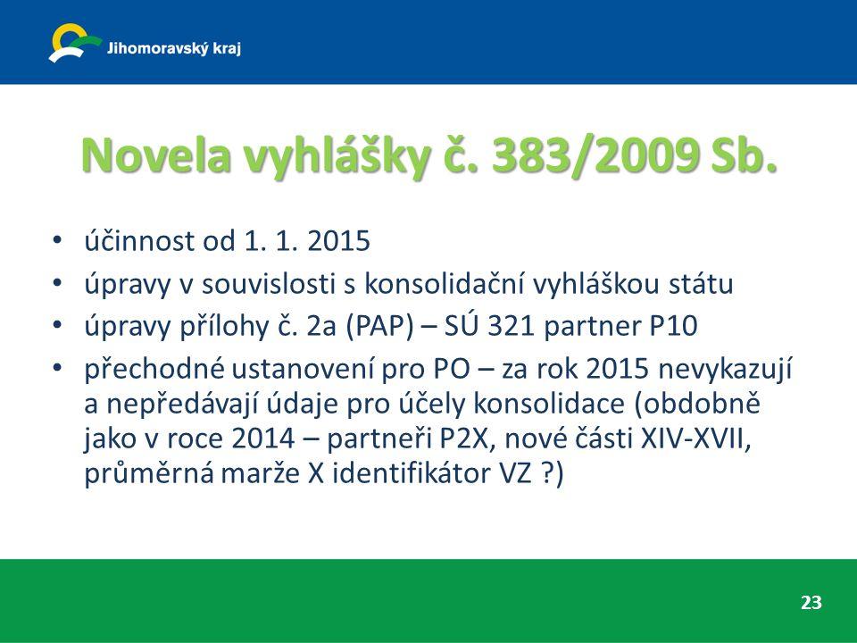 Novela vyhlášky č. 383/2009 Sb. účinnost od 1. 1.