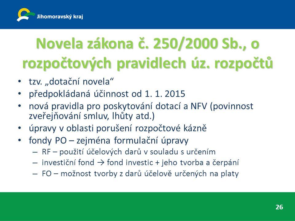 Novela zákona č. 250/2000 Sb., o rozpočtových pravidlech úz.
