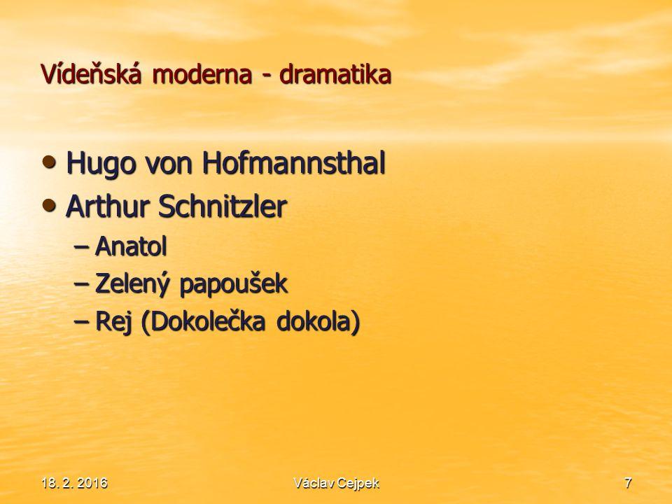 Vídeňská moderna - dramatika Hugo von Hofmannsthal Hugo von Hofmannsthal Arthur Schnitzler Arthur Schnitzler –Anatol –Zelený papoušek –Rej (Dokolečka