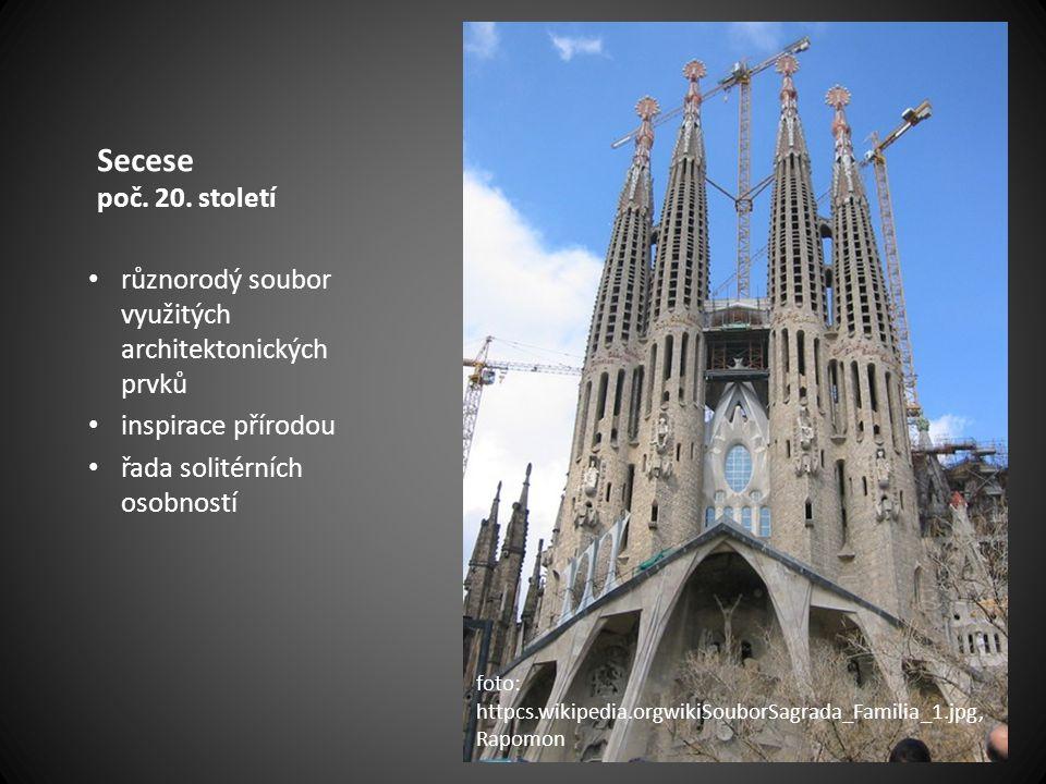 Secese poč. 20. století různorodý soubor využitých architektonických prvků inspirace přírodou řada solitérních osobností foto: httpcs.wikipedia.orgwik