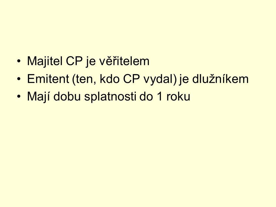 Druhy CP peněžního trhu Směnka Depozitní certifikát Státní pokladniční poukázky šeky