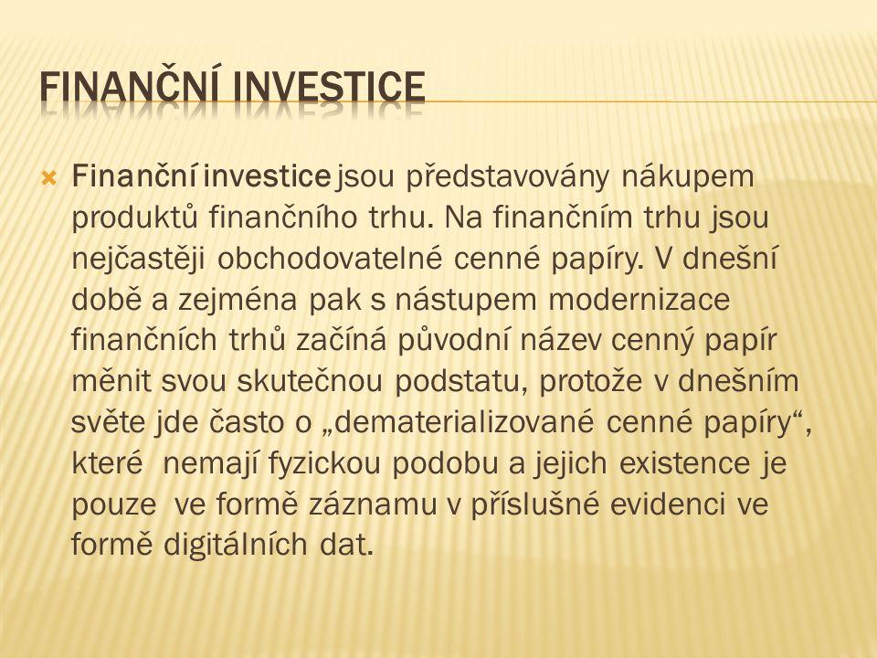  Finanční investice jsou představovány nákupem produktů finančního trhu. Na finančním trhu jsou nejčastěji obchodovatelné cenné papíry. V dnešní době