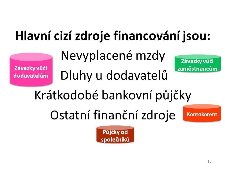 Hlavní cizí zdroje financování jsou: Nevyplacené mzdy Dluhy u dodavatelů Krátkodobé bankovní půjčky Ostatní finanční zdroje 16 Kontokorent Závazky vůči dodavatelům Závazky vůči dodavatelům Závazky vůči zaměstnancům Půjčky od společníků Půjčky od společníků