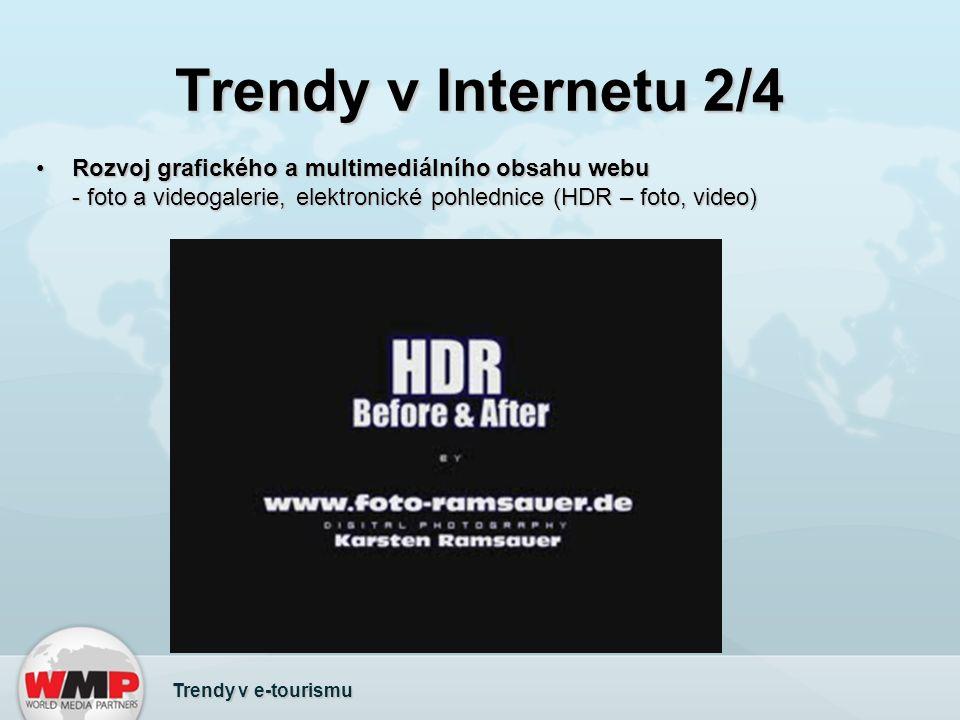 Trendy v Internetu 2/4 Rozvoj grafického a multimediálního obsahu webu - foto a videogalerie, elektronické pohlednice (HDR – foto, video)Rozvoj grafického a multimediálního obsahu webu - foto a videogalerie, elektronické pohlednice (HDR – foto, video) Trendy v e-tourismu