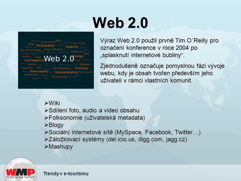 """Web 2.0 Výraz Web 2.0 použil prvně Tim O´Reilly pro označení konference v roce 2004 po """"splasknutí internetové bubliny ."""