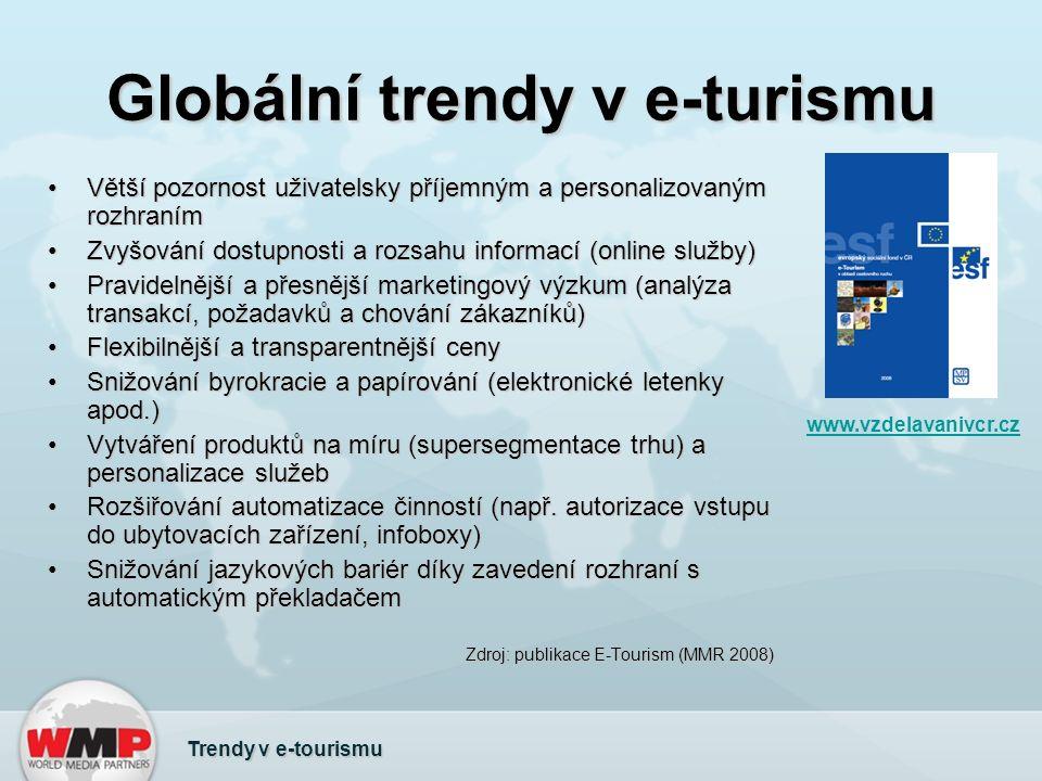 Globální trendy v e-turismu Trendy v e-tourismu www.vzdelavanivcr.cz Větší pozornost uživatelsky příjemným a personalizovaným rozhranímVětší pozornost uživatelsky příjemným a personalizovaným rozhraním Zvyšování dostupnosti a rozsahu informací (online služby)Zvyšování dostupnosti a rozsahu informací (online služby) Pravidelnější a přesnější marketingový výzkum (analýza transakcí, požadavků a chování zákazníků)Pravidelnější a přesnější marketingový výzkum (analýza transakcí, požadavků a chování zákazníků) Flexibilnější a transparentnější cenyFlexibilnější a transparentnější ceny Snižování byrokracie a papírování (elektronické letenky apod.)Snižování byrokracie a papírování (elektronické letenky apod.) Vytváření produktů na míru (supersegmentace trhu) a personalizace služebVytváření produktů na míru (supersegmentace trhu) a personalizace služeb Rozšiřování automatizace činností (např.