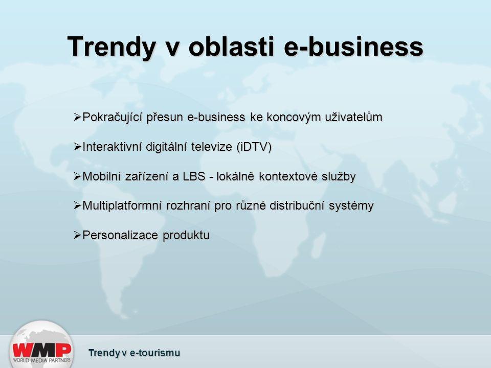 Trendy v oblasti e-business Trendy v e-tourismu  Pokračující přesun e-business ke koncovým uživatelům  Interaktivní digitální televize (iDTV)  Mobilní zařízení a LBS - lokálně kontextové služby  Multiplatformní rozhraní pro různé distribuční systémy  Personalizace produktu