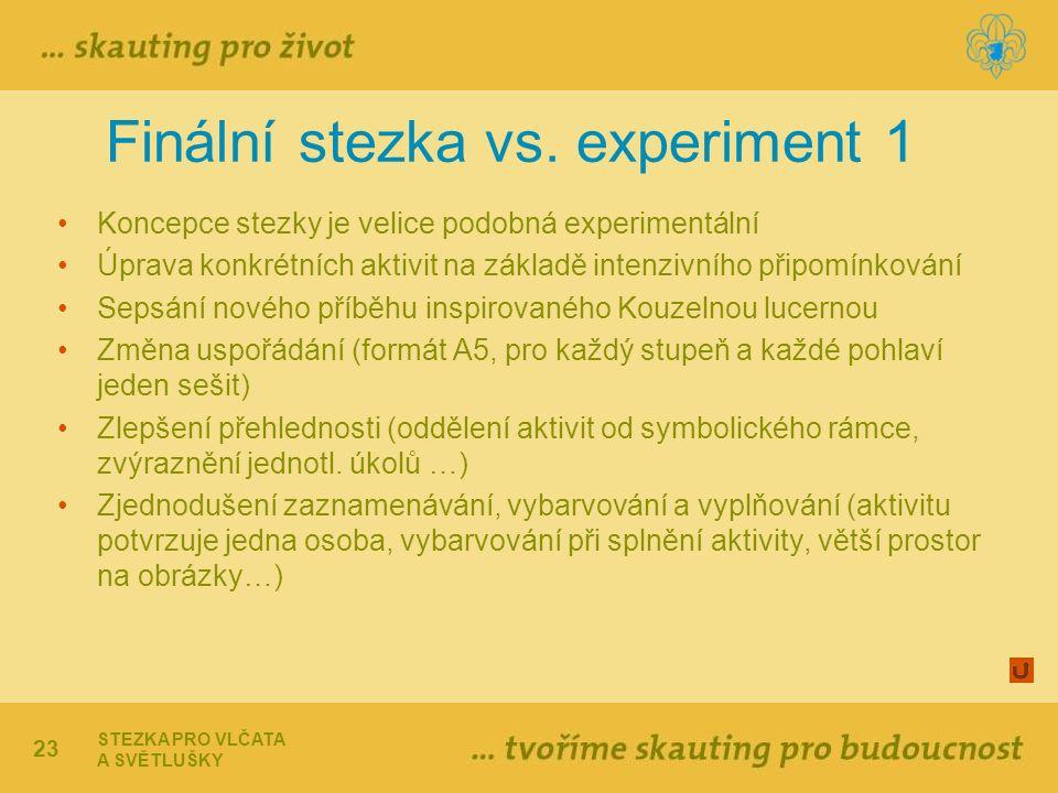 23 Finální stezka vs. experiment 1 Koncepce stezky je velice podobná experimentální Úprava konkrétních aktivit na základě intenzivního připomínkování