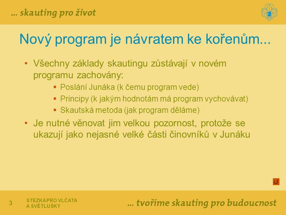 3 Nový program je návratem ke kořenům... Všechny základy skautingu zůstávají v novém programu zachovány:  Poslání Junáka (k čemu program vede)  Prin