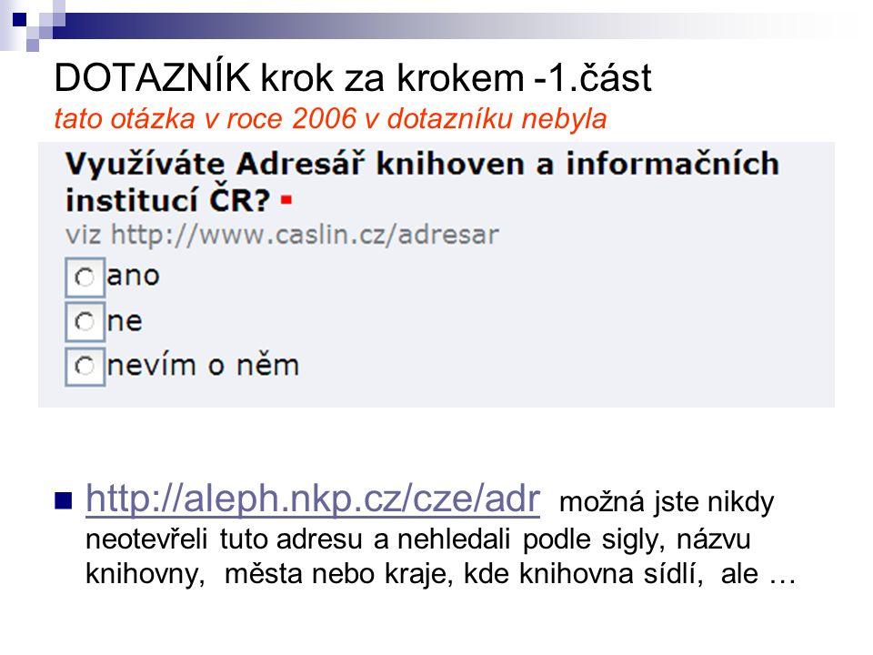 DOTAZNÍK krok za krokem -1.část tato otázka v roce 2006 v dotazníku nebyla http://aleph.nkp.cz/cze/adr možná jste nikdy neotevřeli tuto adresu a nehledali podle sigly, názvu knihovny, města nebo kraje, kde knihovna sídlí, ale … http://aleph.nkp.cz/cze/adr