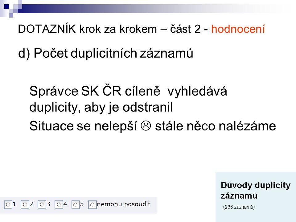 DOTAZNÍK krok za krokem – část 2 - hodnocení d) Počet duplicitních záznamů Správce SK ČR cíleně vyhledává duplicity, aby je odstranil Situace se nelepší  stále něco nalézáme