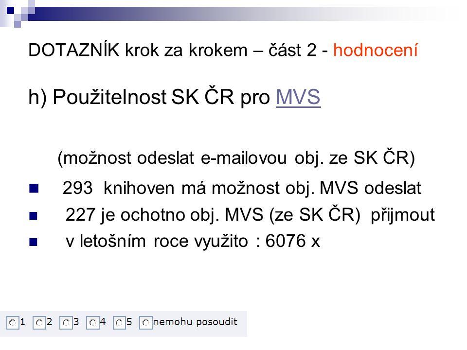 DOTAZNÍK krok za krokem – část 2 - hodnocení h) Použitelnost SK ČR pro MVSMVS (možnost odeslat e-mailovou obj.