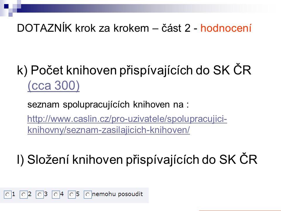 DOTAZNÍK krok za krokem – část 2 - hodnocení k) Počet knihoven přispívajících do SK ČR (cca 300) (cca 300) seznam spolupracujících knihoven na : http://www.caslin.cz/pro-uzivatele/spolupracujici- knihovny/seznam-zasilajicich-knihoven/http://www.caslin.cz/pro-uzivatele/spolupracujici- knihovny/seznam-zasilajicich-knihoven/ l) Složení knihoven přispívajících do SK ČR