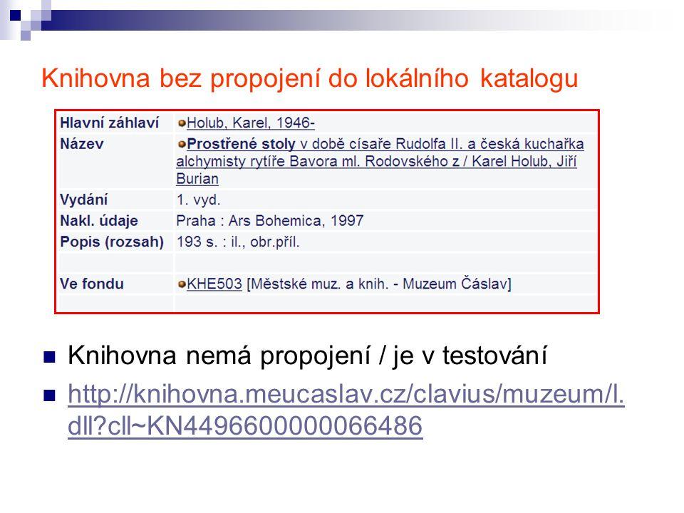 Knihovna bez propojení do lokálního katalogu Knihovna nemá propojení / je v testování http://knihovna.meucaslav.cz/clavius/muzeum/l.