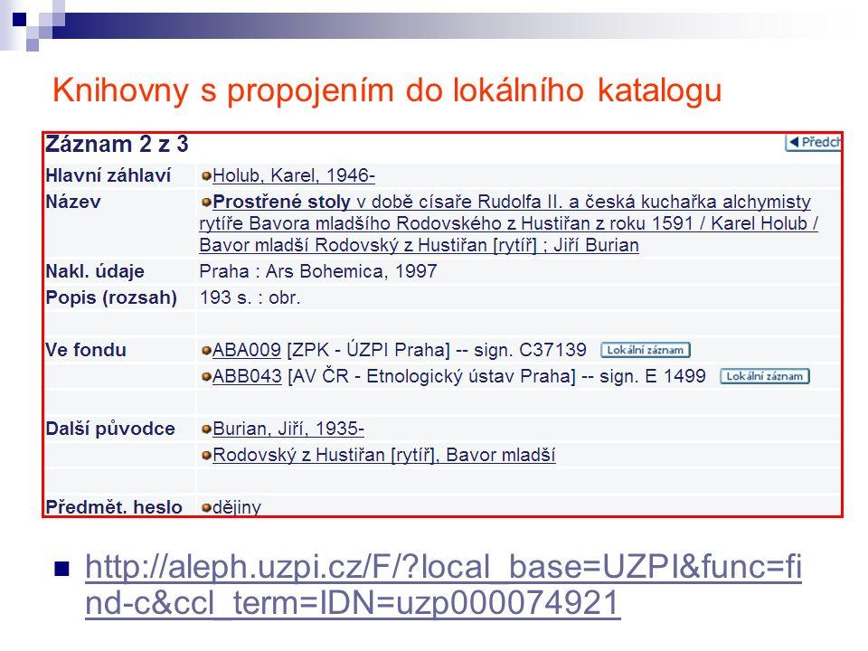 Knihovny s propojením do lokálního katalogu http://aleph.uzpi.cz/F/ local_base=UZPI&func=fi nd-c&ccl_term=IDN=uzp000074921 http://aleph.uzpi.cz/F/ local_base=UZPI&func=fi nd-c&ccl_term=IDN=uzp000074921