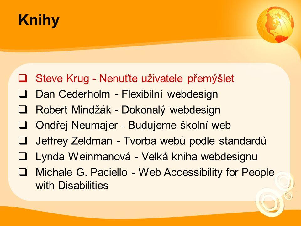 Knihy  Steve Krug - Nenuťte uživatele přemýšlet  Dan Cederholm - Flexibilní webdesign  Robert Mindžák - Dokonalý webdesign  Ondřej Neumajer - Budujeme školní web  Jeffrey Zeldman - Tvorba webů podle standardů  Lynda Weinmanová - Velká kniha webdesignu  Michale G.