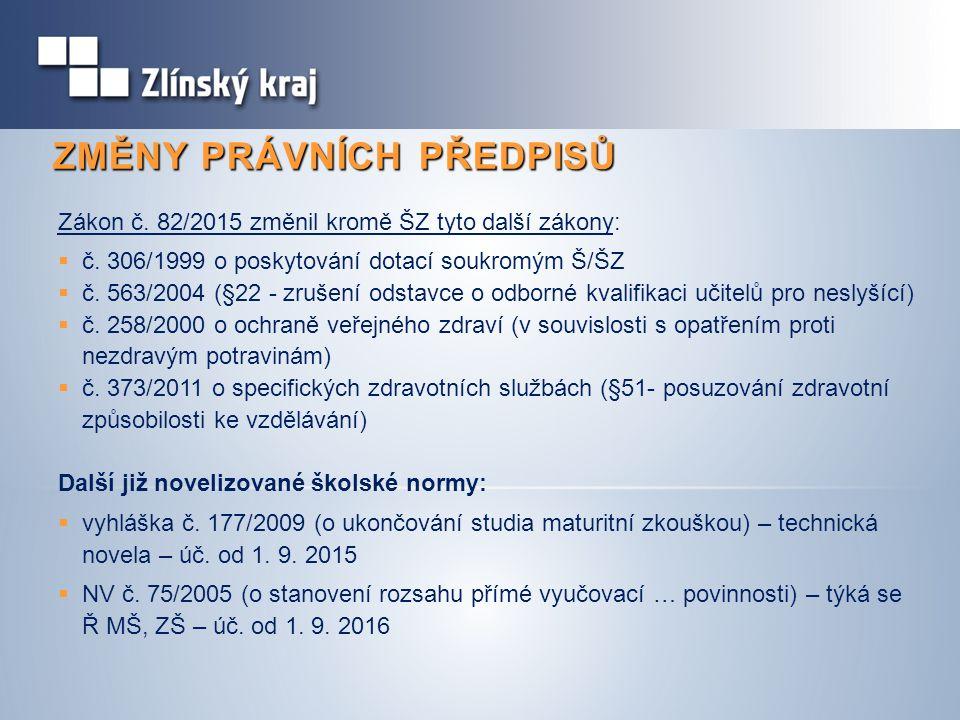 ZMĚNY PRÁVNÍCH PŘEDPISŮ Zákon č. 82/2015 změnil kromě ŠZ tyto další zákony:  č.