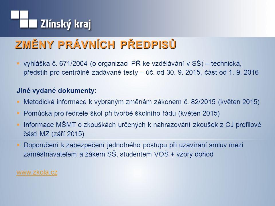 ZMĚNY PRÁVNÍCH PŘEDPISŮ  vyhláška č.