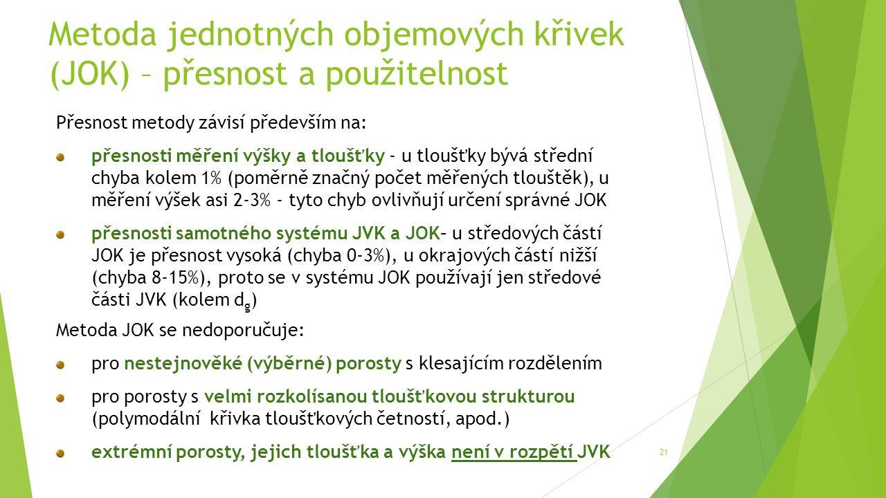 Metoda jednotných objemových křivek (JOK) – přesnost a použitelnost 21 Přesnost metody závisí především na: přesnosti měření výšky a tloušťky - u tloušťky bývá střední chyba kolem 1% (poměrně značný počet měřených tlouštěk), u měření výšek asi 2-3% - tyto chyb ovlivňují určení správné JOK přesnosti samotného systému JVK a JOK– u středových částí JOK je přesnost vysoká (chyba 0-3%), u okrajových částí nižší (chyba 8-15%), proto se v systému JOK používají jen středové části JVK (kolem d g ) Metoda JOK se nedoporučuje: pro nestejnověké (výběrné) porosty s klesajícím rozdělením pro porosty s velmi rozkolísanou tloušťkovou strukturou (polymodální křivka tloušťkových četností, apod.) extrémní porosty, jejich tloušťka a výška není v rozpětí JVK