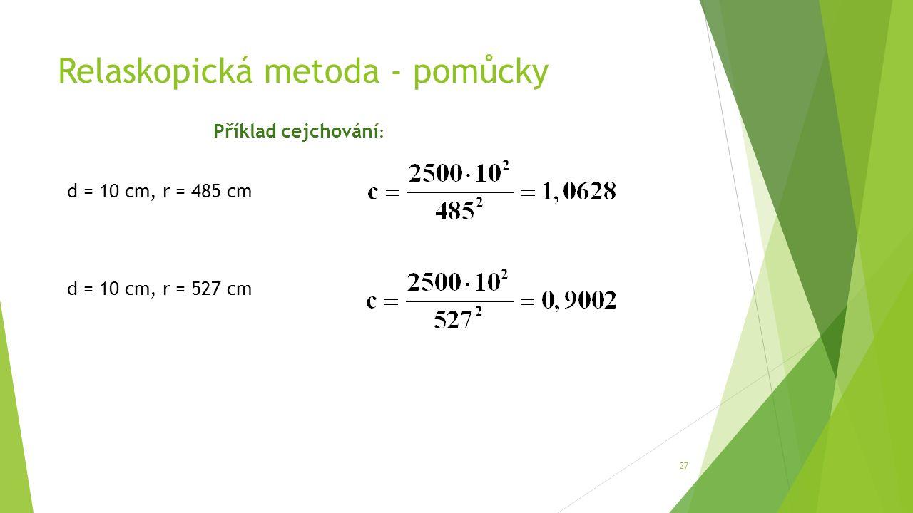 Relaskopická metoda - pomůcky 27 Příklad cejchování : d = 10 cm, r = 485 cm d = 10 cm, r = 527 cm