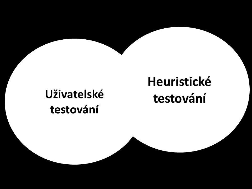Uživatelské a heuristické testování Uživatelské testování Heuristické testování