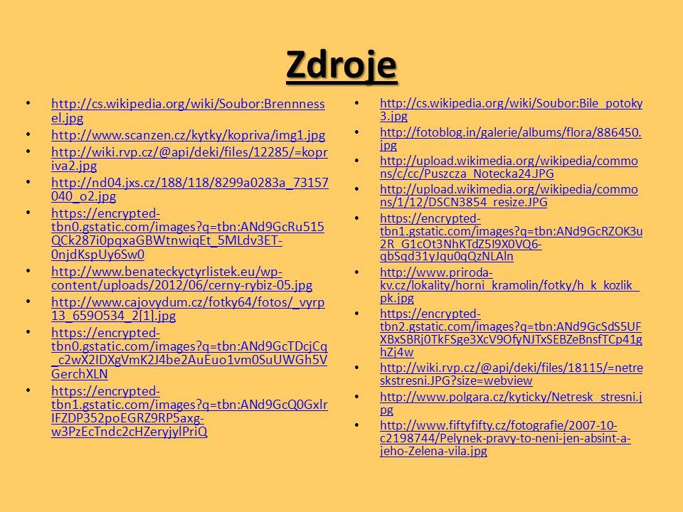 Zdroje http://cs.wikipedia.org/wiki/Soubor:Brennness el.jpg http://cs.wikipedia.org/wiki/Soubor:Brennness el.jpg http://www.scanzen.cz/kytky/kopriva/img1.jpg http://wiki.rvp.cz/@api/deki/files/12285/=kopr iva2.jpg http://wiki.rvp.cz/@api/deki/files/12285/=kopr iva2.jpg http://nd04.jxs.cz/188/118/8299a0283a_73157 040_o2.jpg http://nd04.jxs.cz/188/118/8299a0283a_73157 040_o2.jpg https://encrypted- tbn0.gstatic.com/images q=tbn:ANd9GcRu515 QCk287i0pqxaGBWtnwiqEt_5MLdv3ET- 0njdKspUy6Sw0 https://encrypted- tbn0.gstatic.com/images q=tbn:ANd9GcRu515 QCk287i0pqxaGBWtnwiqEt_5MLdv3ET- 0njdKspUy6Sw0 http://www.benateckyctyrlistek.eu/wp- content/uploads/2012/06/cerny-rybiz-05.jpg http://www.benateckyctyrlistek.eu/wp- content/uploads/2012/06/cerny-rybiz-05.jpg http://www.cajovydum.cz/fotky64/fotos/_vyrp 13_659O534_2[1].jpg http://www.cajovydum.cz/fotky64/fotos/_vyrp 13_659O534_2[1].jpg https://encrypted- tbn0.gstatic.com/images q=tbn:ANd9GcTDcjCq _c2wX2IDXgVmK2J4be2AuEuo1vm0SuUWGh5V GerchXLN https://encrypted- tbn0.gstatic.com/images q=tbn:ANd9GcTDcjCq _c2wX2IDXgVmK2J4be2AuEuo1vm0SuUWGh5V GerchXLN https://encrypted- tbn1.gstatic.com/images q=tbn:ANd9GcQ0Gxlr IFZDP352poEGRZ9RP5axg- w3PzEcTndc2cHZeryjylPriQ https://encrypted- tbn1.gstatic.com/images q=tbn:ANd9GcQ0Gxlr IFZDP352poEGRZ9RP5axg- w3PzEcTndc2cHZeryjylPriQ http://cs.wikipedia.org/wiki/Soubor:Bile_potoky 3.jpg http://cs.wikipedia.org/wiki/Soubor:Bile_potoky 3.jpg http://fotoblog.in/galerie/albums/flora/886450.