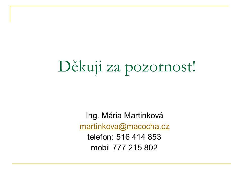 Děkuji za pozornost! Ing. Mária Martinková martinkova@macocha.cz telefon: 516 414 853 mobil 777 215 802