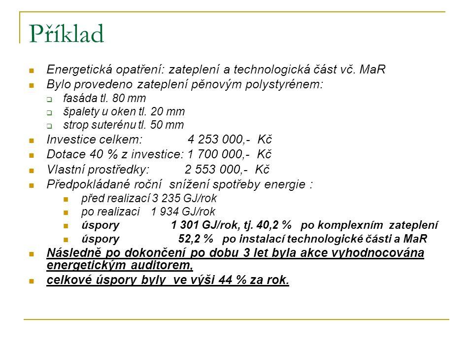Příklad Energetická opatření: zateplení a technologická část vč.