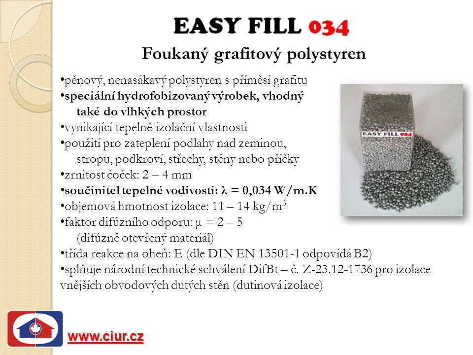 Foukaný grafitový polystyren www.ciur.cz pěnový, nenasákavý polystyren s příměsí grafitu speciální hydrofobizovaný výrobek, vhodný také do vlhkých prostor vynikající tepelně izolační vlastnosti použití pro zateplení podlahy nad zeminou, stropu, podkroví, střechy, stěny nebo příčky zrnitost čoček: 2 – 4 mm součinitel tepelné vodivosti: λ = 0,034 W/m.K objemová hmotnost izolace: 11 – 14 kg/m 3 faktor difúzního odporu: μ = 2 – 5 (difúzně otevřený materiál) třída reakce na oheň: E (dle DIN EN 13501-1 odpovídá B2) splňuje národní technické schválení DifBt – č.