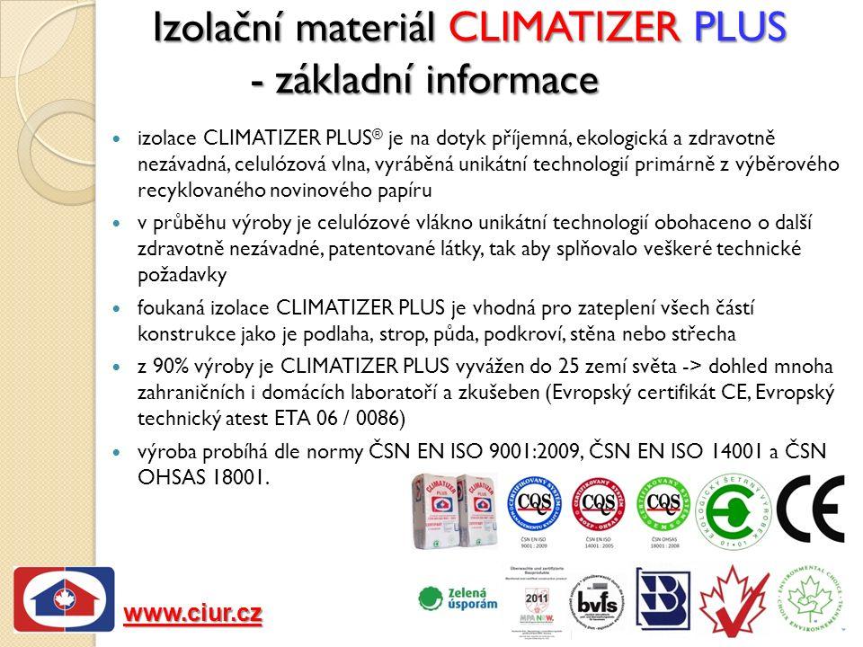 Izolační materiál CLIMATIZER PLUS - základní informace izolace CLIMATIZER PLUS ® je na dotyk příjemná, ekologická a zdravotně nezávadná, celulózová vlna, vyráběná unikátní technologií primárně z výběrového recyklovaného novinového papíru v průběhu výroby je celulózové vlákno unikátní technologií obohaceno o další zdravotně nezávadné, patentované látky, tak aby splňovalo veškeré technické požadavky foukaná izolace CLIMATIZER PLUS je vhodná pro zateplení všech částí konstrukce jako je podlaha, strop, půda, podkroví, stěna nebo střecha z 90% výroby je CLIMATIZER PLUS vyvážen do 25 zemí světa -> dohled mnoha zahraničních i domácích laboratoří a zkušeben (Evropský certifikát CE, Evropský technický atest ETA 06 / 0086) výroba probíhá dle normy ČSN EN ISO 9001:2009, ČSN EN ISO 14001 a ČSN OHSAS 18001.