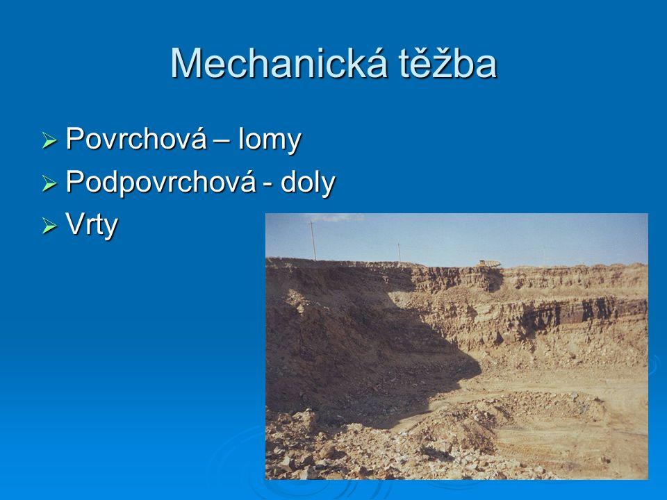 Mechanická těžba  Povrchová – lomy  Podpovrchová - doly  Vrty
