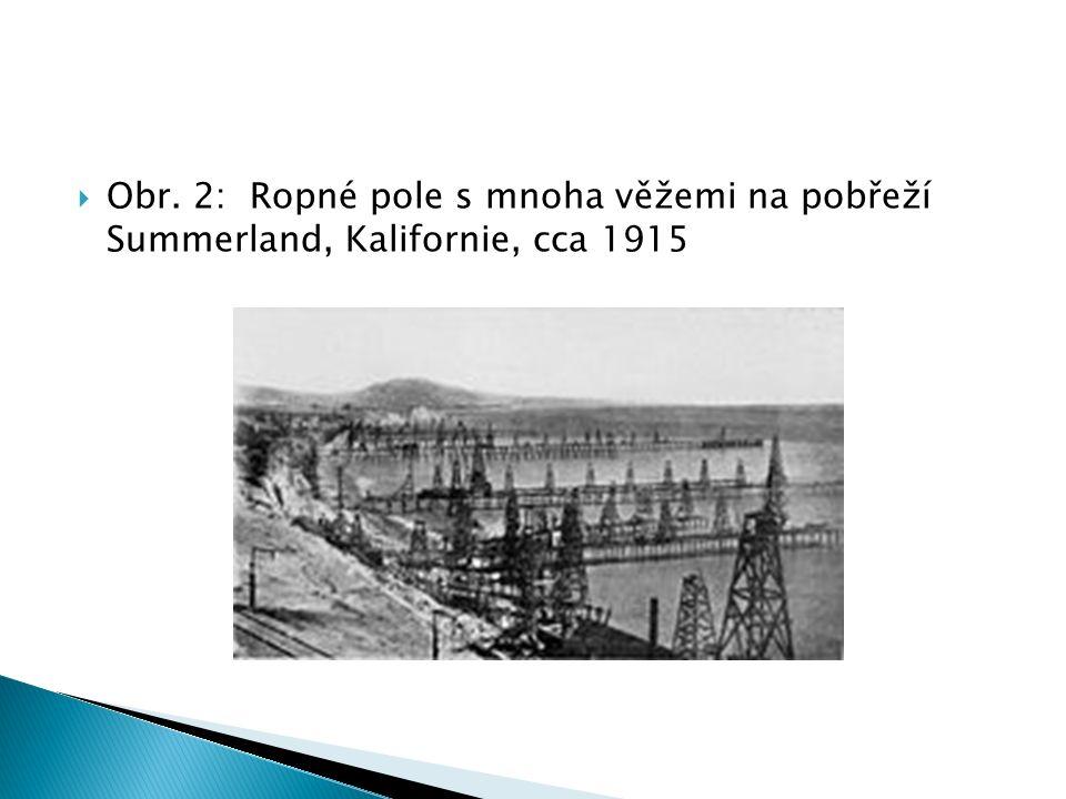  Obr. 2: Ropné pole s mnoha věžemi na pobřeží Summerland, Kalifornie, cca 1915