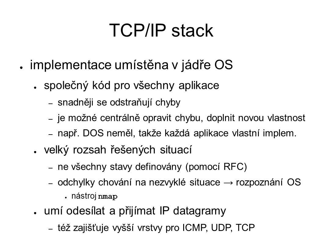 TCP/IP stack ● implementace umístěna v jádře OS ● společný kód pro všechny aplikace – snadněji se odstraňují chyby – je možné centrálně opravit chybu, doplnit novou vlastnost – např.