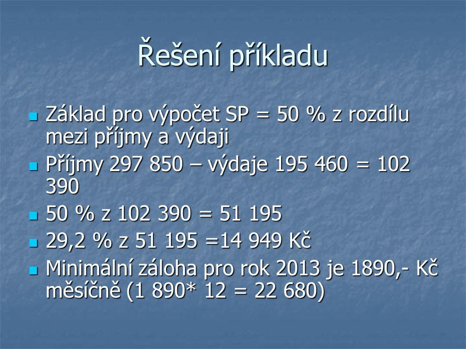 Řešení příkladu Základ pro výpočet SP = 50 % z rozdílu mezi příjmy a výdaji Základ pro výpočet SP = 50 % z rozdílu mezi příjmy a výdaji Příjmy 297 850