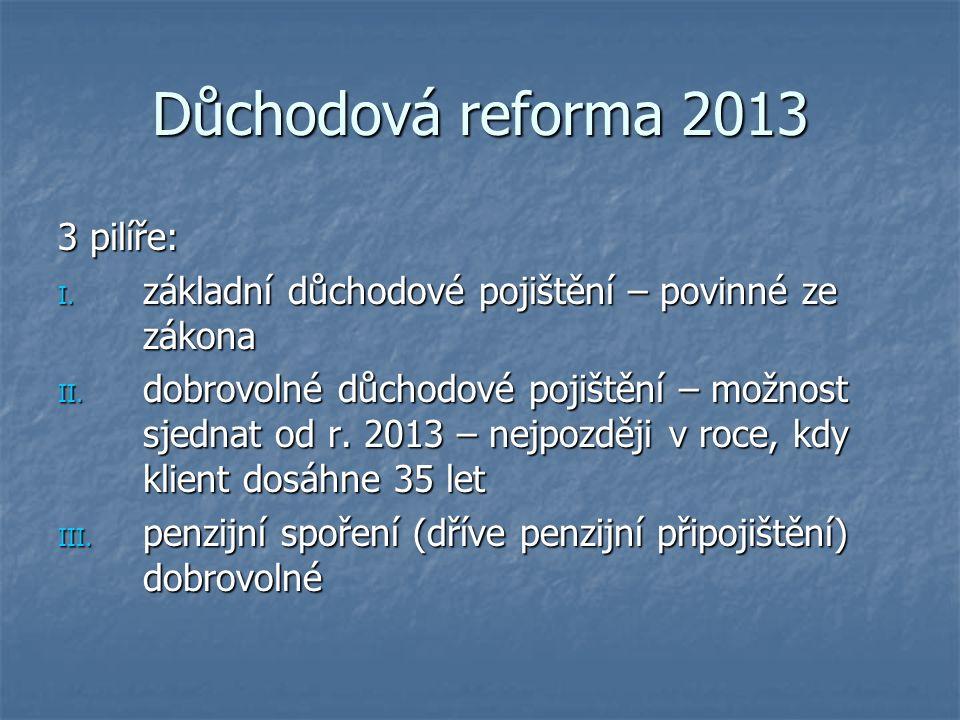 Důchodová reforma 2013 3 pilíře: I. základní důchodové pojištění – povinné ze zákona II. dobrovolné důchodové pojištění – možnost sjednat od r. 2013 –