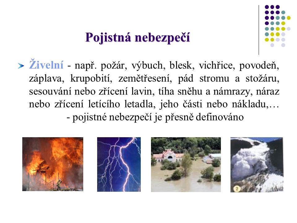 Pojistná nebezpečí Živelní - např. požár, výbuch, blesk, vichřice, povodeň, záplava, krupobití, zemětřesení, pád stromu a stožáru, sesouvání nebo zříc