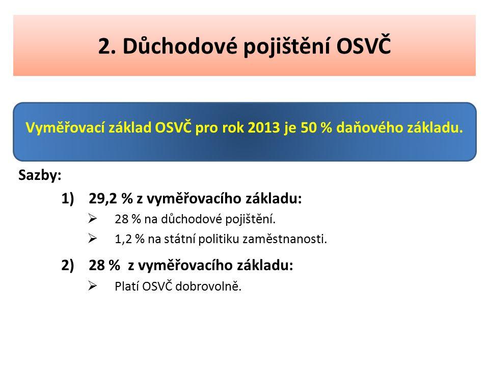 2. Důchodové pojištění OSVČ Vyměřovací základ OSVČ pro rok 2013 je 50 % daňového základu. Sazby: 1)29,2 % z vyměřovacího základu:  28 % na důchodové