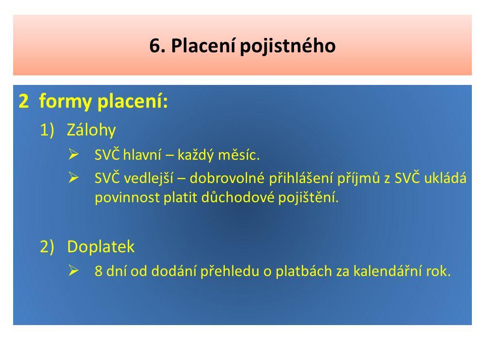 7.Nemocenské pojištění OSVČ Dobrovolná účast ve výši 2,3 % z vyměřovacího základu.
