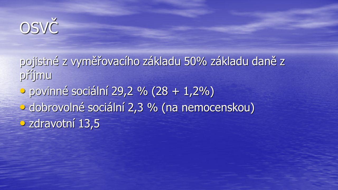 OSVČ pojistné z vyměřovacího základu 50% základu daně z příjmu povinné sociální 29,2 % (28 + 1,2%) povinné sociální 29,2 % (28 + 1,2%) dobrovolné sociální 2,3 % (na nemocenskou) dobrovolné sociální 2,3 % (na nemocenskou) zdravotní 13,5 zdravotní 13,5