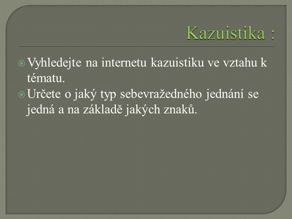  Vyhledejte na internetu kazuistiku ve vztahu k tématu.