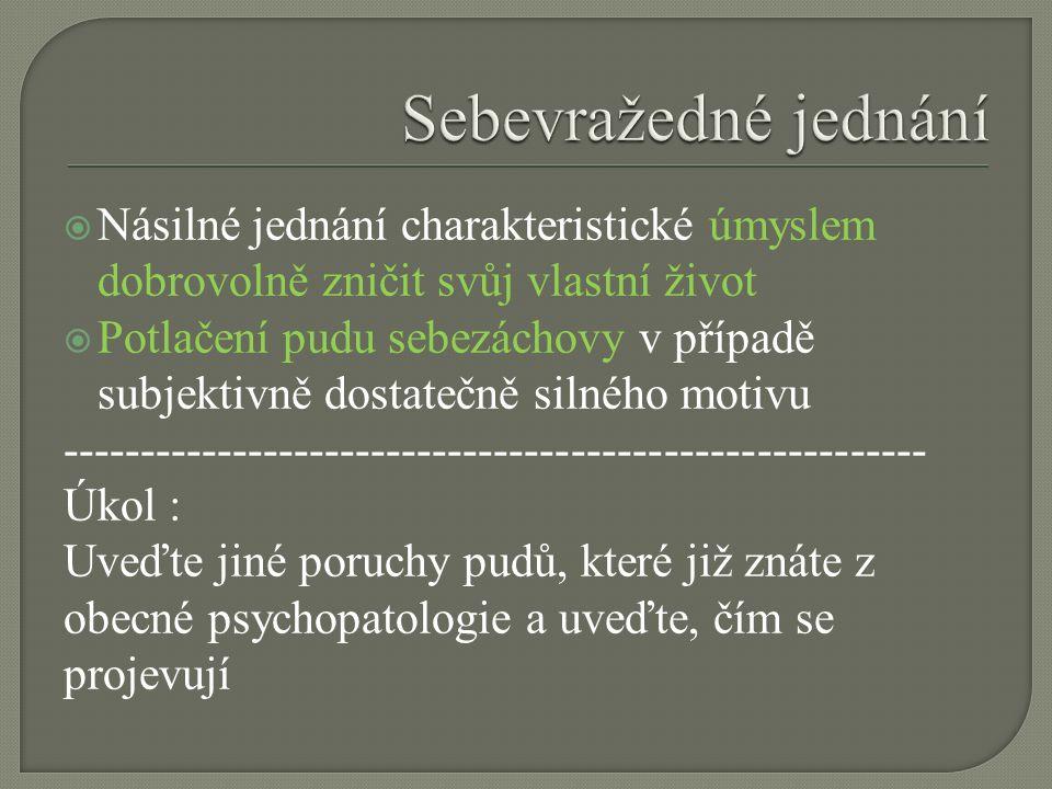  Násilné jednání charakteristické úmyslem dobrovolně zničit svůj vlastní život  Potlačení pudu sebezáchovy v případě subjektivně dostatečně silného motivu -------------------------------------------------------- Úkol : Uveďte jiné poruchy pudů, které již znáte z obecné psychopatologie a uveďte, čím se projevují