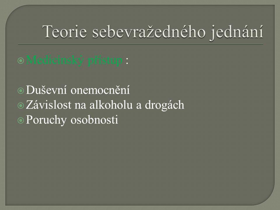  Medicínský přístup :  Duševní onemocnění  Závislost na alkoholu a drogách  Poruchy osobnosti