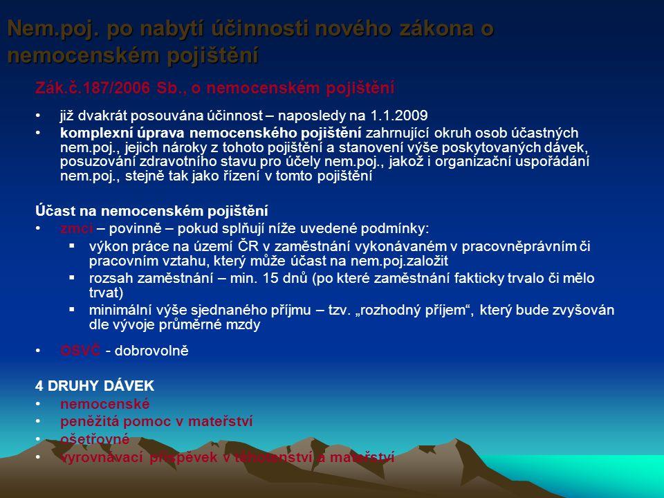 Zák.č.187/2006 Sb., o nemocenském pojištění již dvakrát posouvána účinnost – naposledy na 1.1.2009 komplexní úprava nemocenského pojištění zahrnující okruh osob účastných nem.poj., jejich nároky z tohoto pojištění a stanovení výše poskytovaných dávek, posuzování zdravotního stavu pro účely nem.poj., jakož i organizační uspořádání nem.poj., stejně tak jako řízení v tomto pojištění Účast na nemocenském pojištění zmci – povinně – pokud splňují níže uvedené podmínky:  výkon práce na území ČR v zaměstnání vykonávaném v pracovněprávním či pracovním vztahu, který může účast na nem.poj.založit  rozsah zaměstnání – min.