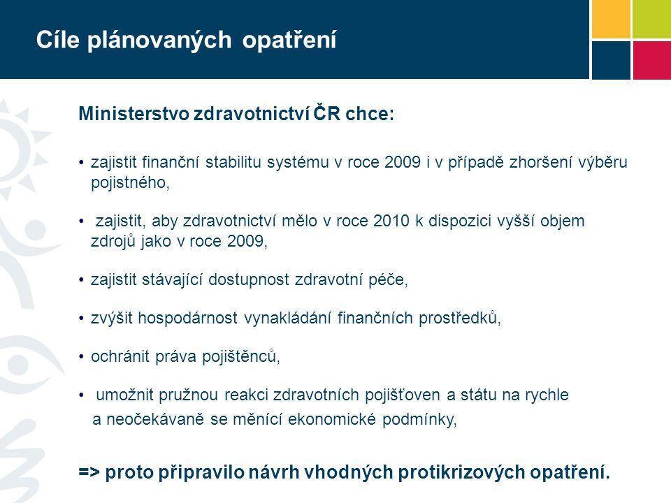 Cíle plánovaných opatření Ministerstvo zdravotnictví ČR chce: zajistit finanční stabilitu systému v roce 2009 i v případě zhoršení výběru pojistného, zajistit, aby zdravotnictví mělo v roce 2010 k dispozici vyšší objem zdrojů jako v roce 2009, zajistit stávající dostupnost zdravotní péče, zvýšit hospodárnost vynakládání finančních prostředků, ochránit práva pojištěnců, umožnit pružnou reakci zdravotních pojišťoven a státu na rychle a neočekávaně se měnící ekonomické podmínky, => proto připravilo návrh vhodných protikrizových opatření.