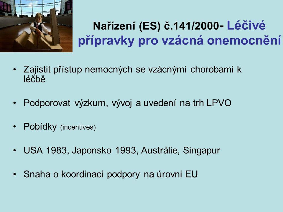 Nařízení (ES) č.141/2000 - Léčivé přípravky pro vzácná onemocnění Zajistit přístup nemocných se vzácnými chorobami k léčbě Podporovat výzkum, vývoj a uvedení na trh LPVO Pobídky (incentives) USA 1983, Japonsko 1993, Austrálie, Singapur Snaha o koordinaci podpory na úrovni EU