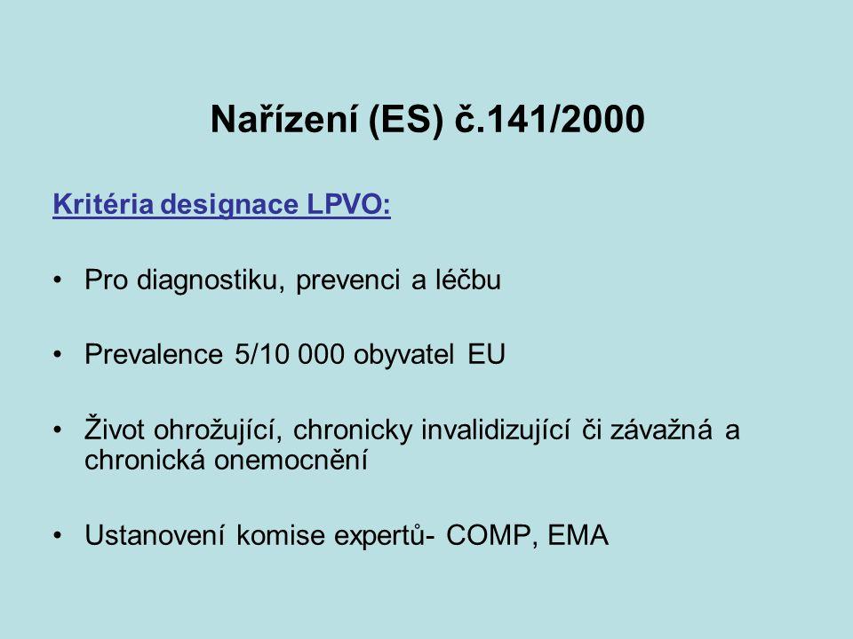 Kritéria dezignace LPVO neexistuje jiná uspokojivá metoda diagnostiky, prevence nebo léčby registrovaný v EU pokud existuje LP musí prokázat významný užitek (significant benefit, SB)