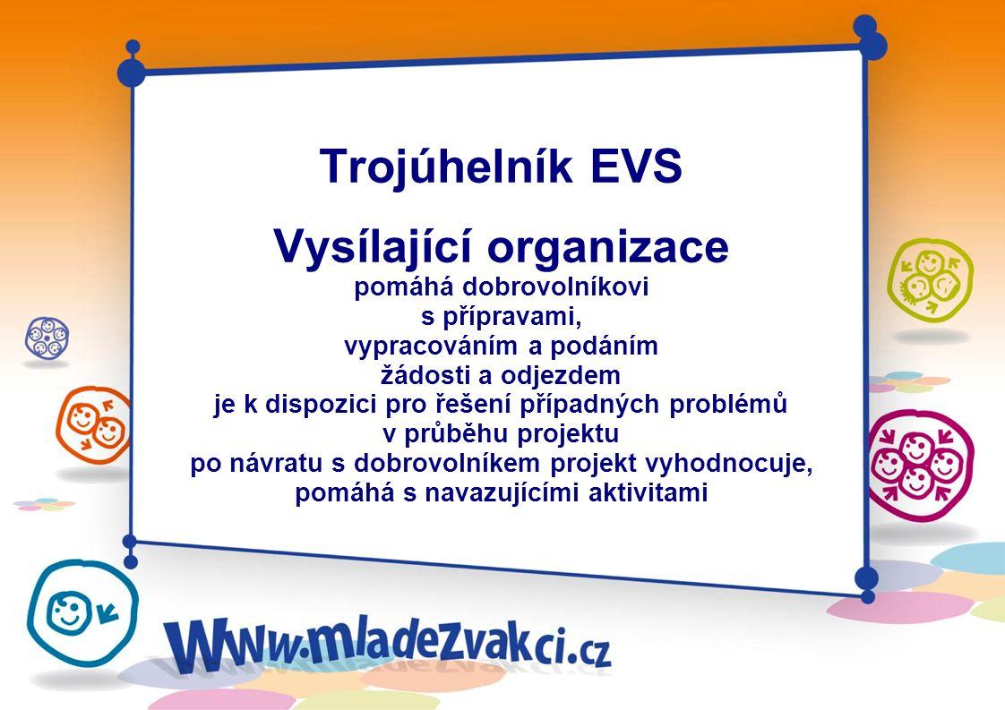 Trojúhelník EVS Dobrovolník věk 18 – 30 let splňuje podmínky projektu, který si vybral (např. jazykové znalosti a jiné požadavky) na svém vyslání akti