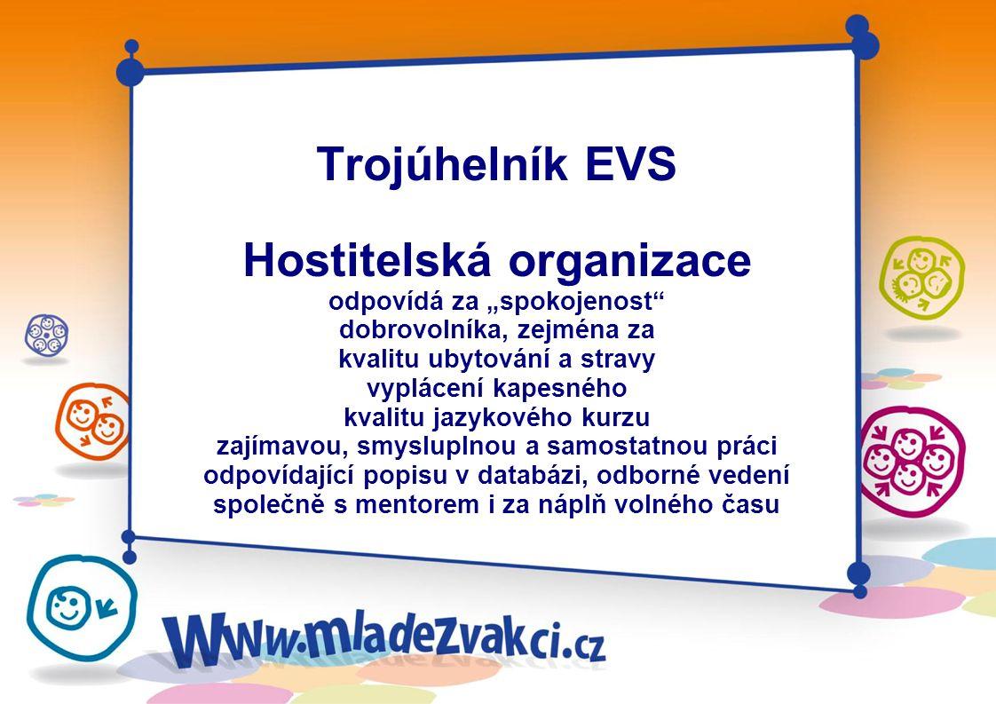 Trojúhelník EVS Vysílající organizace pomáhá dobrovolníkovi s přípravami, vypracováním a podáním žádosti a odjezdem je k dispozici pro řešení případný