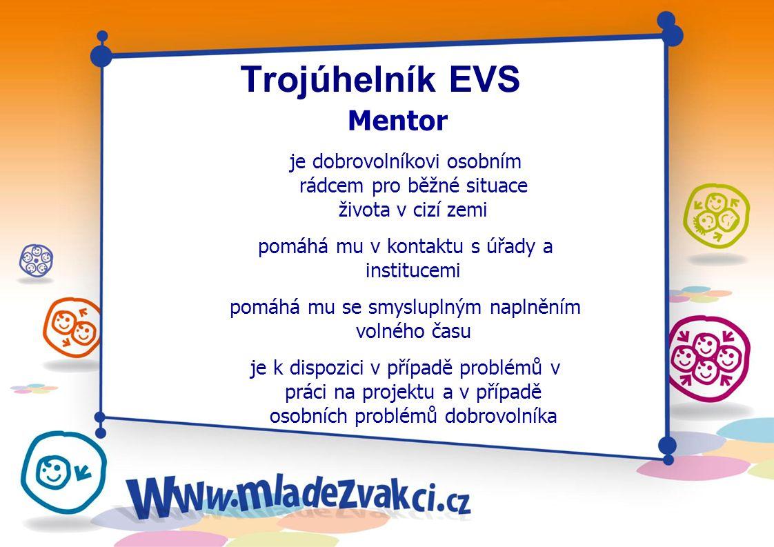 """Trojúhelník EVS Hostitelská organizace odpovídá za """"spokojenost dobrovolníka, zejména za kvalitu ubytování a stravy vyplácení kapesného kvalitu jazykového kurzu zajímavou, smysluplnou a samostatnou práci odpovídající popisu v databázi, odborné vedení společně s mentorem i za náplň volného času"""