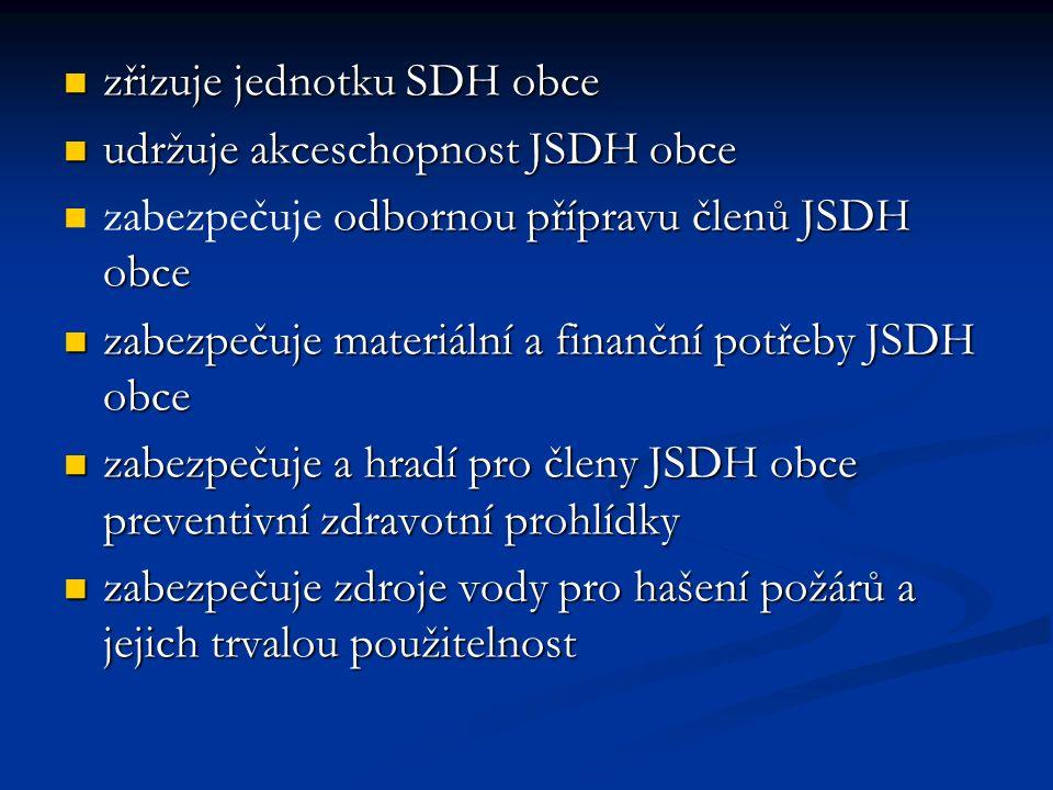 zřizuje jednotku SDH obce zřizuje jednotku SDH obce udržuje akceschopnost JSDH obce udržuje akceschopnost JSDH obce odbornou přípravu členů JSDH obce zabezpečuje odbornou přípravu členů JSDH obce zabezpečuje materiální a finanční potřeby JSDH obce zabezpečuje materiální a finanční potřeby JSDH obce zabezpečuje a hradí pro členy JSDH obce preventivní zdravotní prohlídky zabezpečuje a hradí pro členy JSDH obce preventivní zdravotní prohlídky zabezpečuje zdroje vody pro hašení požárů a jejich trvalou použitelnost zabezpečuje zdroje vody pro hašení požárů a jejich trvalou použitelnost